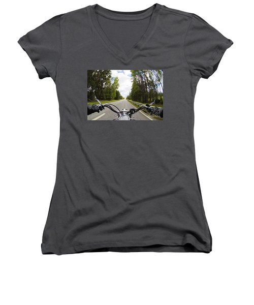 On The Road Women's V-Neck T-Shirt (Junior Cut) by Micah May