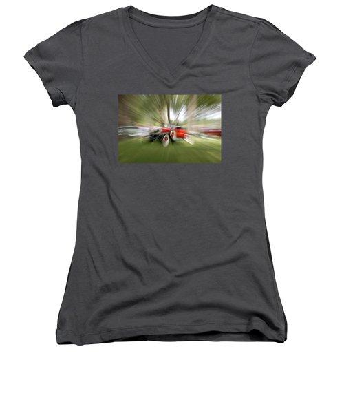 Red Antique Car Women's V-Neck T-Shirt (Junior Cut) by Randy J Heath