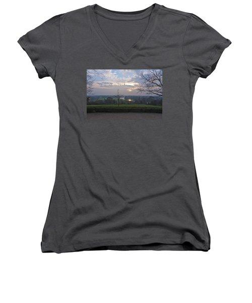 Women's V-Neck T-Shirt (Junior Cut) featuring the photograph Richmond Sunset by Maj Seda
