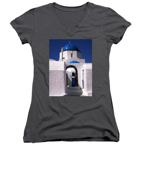Women's V-Neck T-Shirt (Junior Cut) featuring the photograph Santorini Church Greece by Colette V Hera  Guggenheim