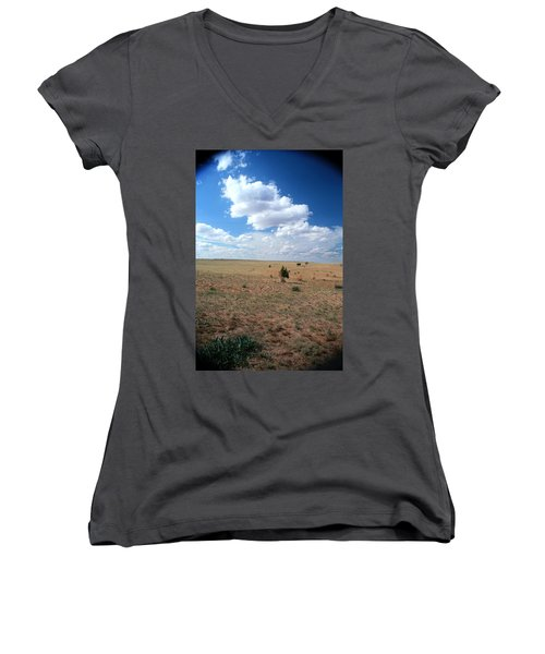 Women's V-Neck T-Shirt (Junior Cut) featuring the photograph Somewhere Off The Interstate In New Mexico by Lon Casler Bixby