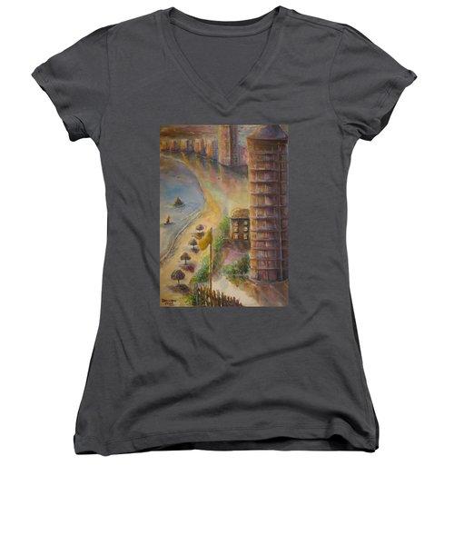 Women's V-Neck T-Shirt (Junior Cut) featuring the painting Sunset Beach by Bernadette Krupa