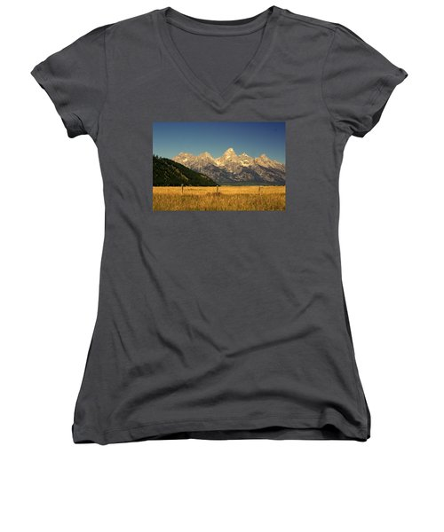 Women's V-Neck T-Shirt (Junior Cut) featuring the photograph Tetons 3 by Marty Koch