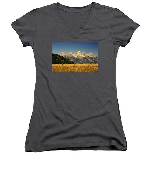 Women's V-Neck T-Shirt (Junior Cut) featuring the photograph Tetons 3 by Marty Koch