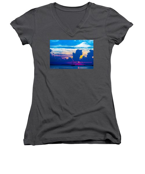 The Purple Sunset Women's V-Neck (Athletic Fit)