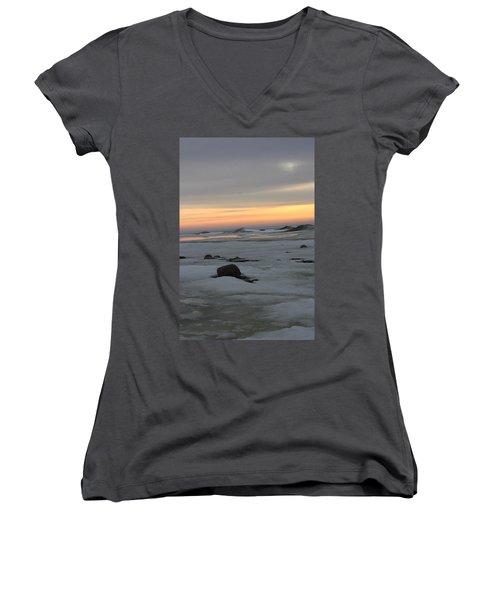 Winter Evening Lights Women's V-Neck T-Shirt