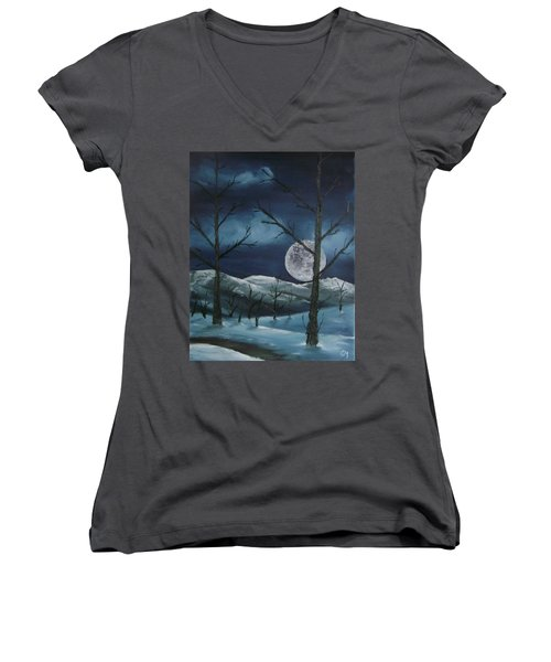 Winter Night Women's V-Neck (Athletic Fit)