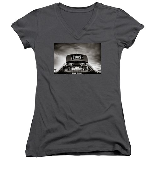 Wrigley Field Bleachers In Black And White Women's V-Neck (Athletic Fit)