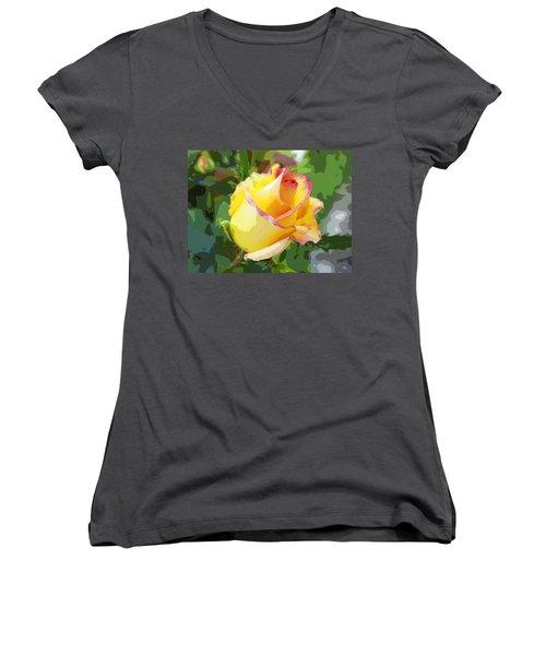 Yellow Rose Women's V-Neck T-Shirt (Junior Cut) by Anne Mott