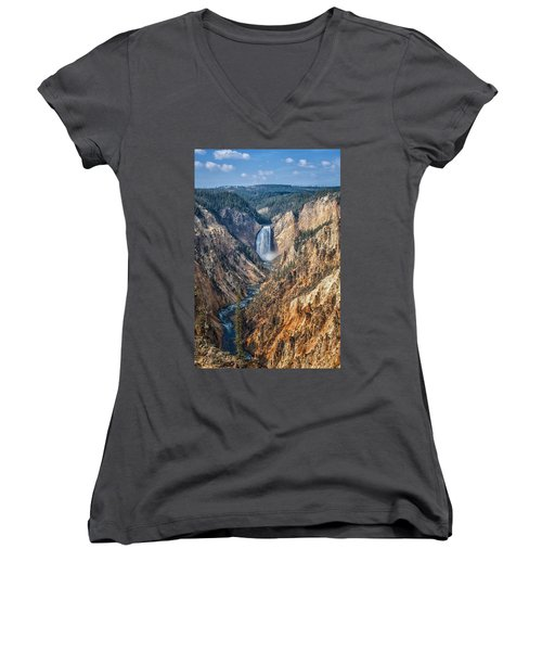 Yellowstone Lower Falls Women's V-Neck (Athletic Fit)