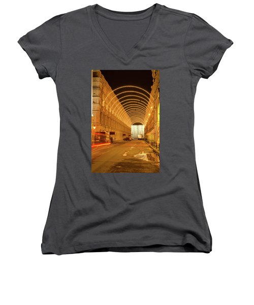 Red Square In Moscow At Night Women's V-Neck