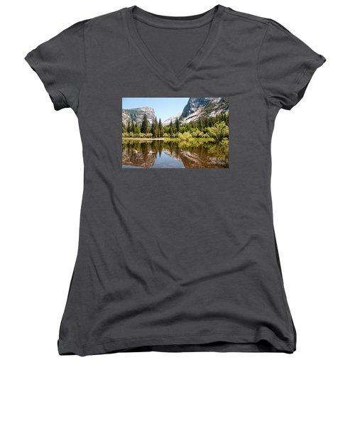 Yosemite Women's V-Neck T-Shirt (Junior Cut) by Carol Ailles