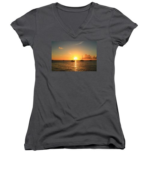 Women's V-Neck T-Shirt (Junior Cut) featuring the photograph Sunset by Catie Canetti