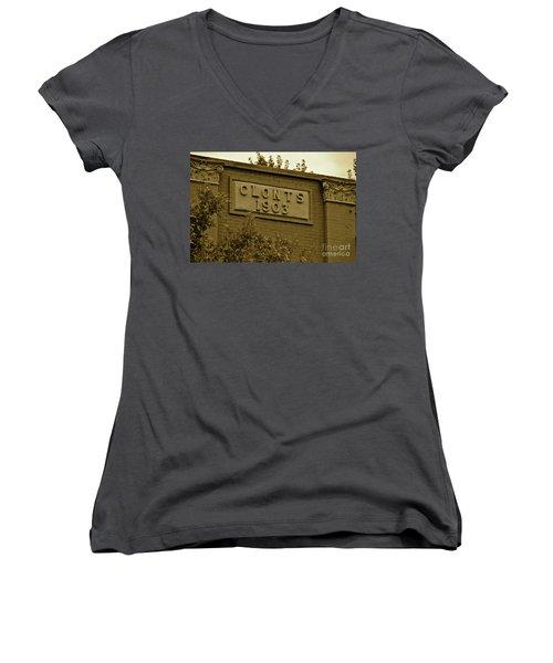 Women's V-Neck T-Shirt (Junior Cut) featuring the photograph 1903 by Carol  Bradley