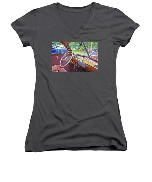 Women's V-Neck T-Shirt (Junior Cut) featuring the photograph 1941 Ford Dash by Paul Mashburn
