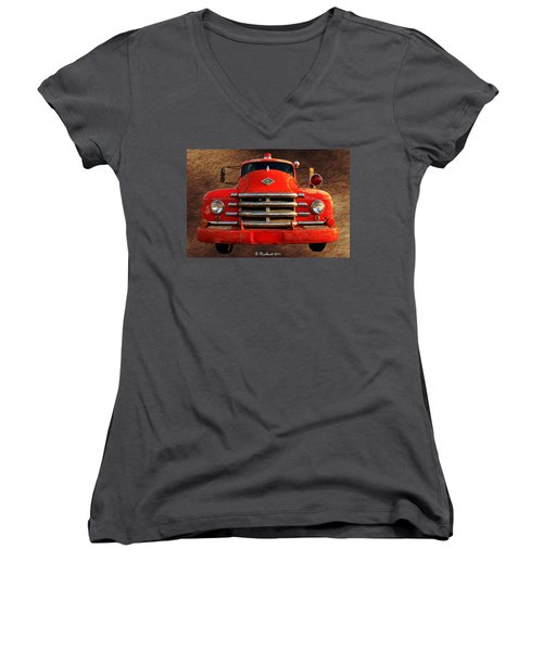 1955 Diamond T Grille - The Cadillac Of Trucks Women's V-Neck T-Shirt (Junior Cut) by Betty Northcutt