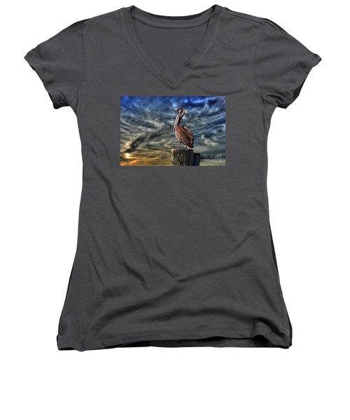 Women's V-Neck T-Shirt (Junior Cut) featuring the photograph Pelican At Sunset by Dan Friend