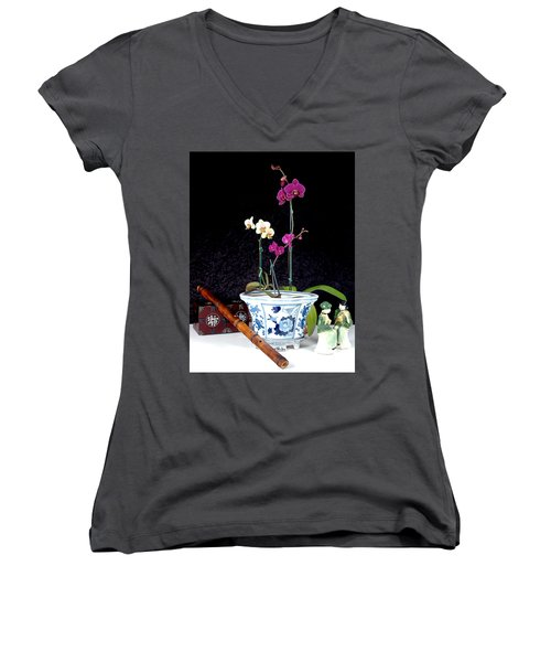 Women's V-Neck T-Shirt (Junior Cut) featuring the photograph Rendezvous by Elf Evans