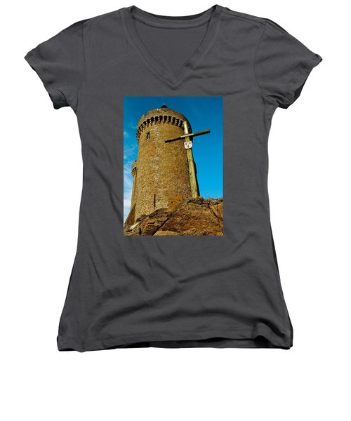 Women's V-Neck T-Shirt (Junior Cut) featuring the photograph Solidor And Cross by Elf Evans