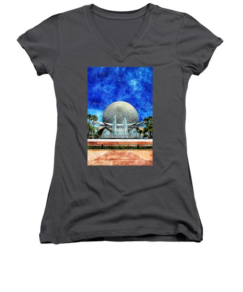 Women's V-Neck T-Shirt (Junior Cut) featuring the digital art Spaceship Earth And Fountain Of Nations by Sandy MacGowan