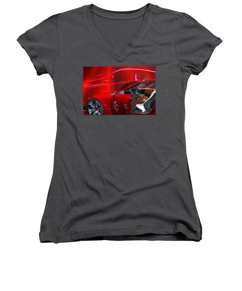 2013 Lexus L F - L C Women's V-Neck T-Shirt (Junior Cut) by Randy J Heath