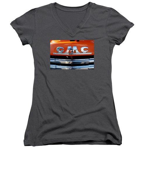 Women's V-Neck T-Shirt (Junior Cut) featuring the photograph '49 G M C by John Schneider