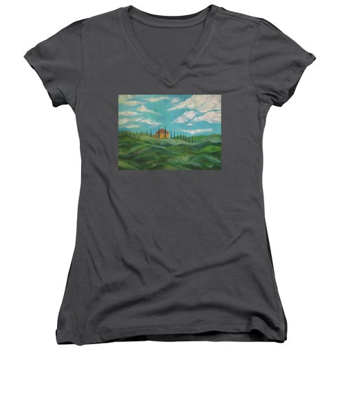 A Day In Tuscany Women's V-Neck T-Shirt (Junior Cut) by John Keaton