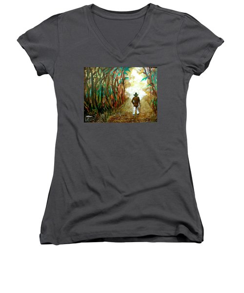 A Fall Walk In The Woods Women's V-Neck (Athletic Fit)