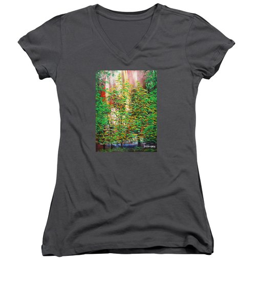 Women's V-Neck T-Shirt (Junior Cut) featuring the painting A Peaceful Place by Dan Whittemore