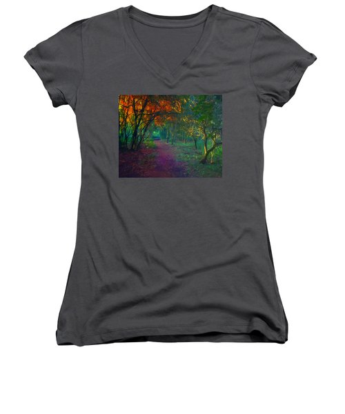 Women's V-Neck T-Shirt (Junior Cut) featuring the painting A Place Of Mystery by Joe Misrasi