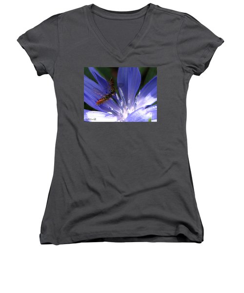 A Quiet Moment On The Chicory Women's V-Neck T-Shirt (Junior Cut) by J McCombie