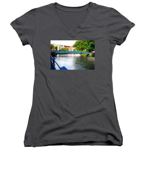 Women's V-Neck T-Shirt (Junior Cut) featuring the photograph A River Runs Through It by Charlie and Norma Brock