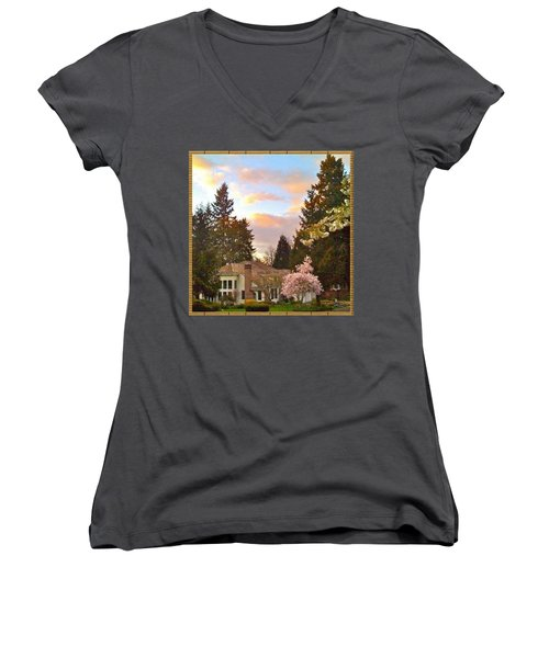 A Spring Evening - Lake Oswego Or Women's V-Neck (Athletic Fit)
