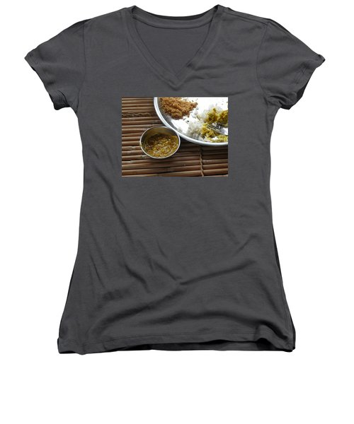 A Typical Plate Of Indian Rajasthani Food On A Bamboo Table Women's V-Neck T-Shirt (Junior Cut) by Ashish Agarwal