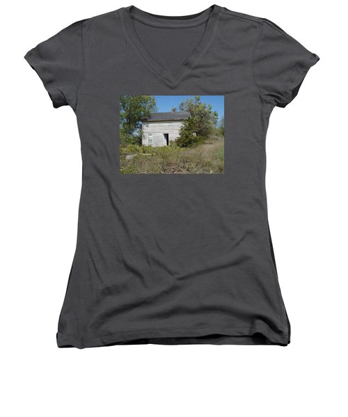 Women's V-Neck T-Shirt (Junior Cut) featuring the photograph Abandoned by Bonfire Photography
