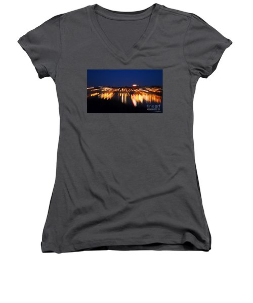 Abstract - City Lights Women's V-Neck T-Shirt (Junior Cut) by Sue Stefanowicz