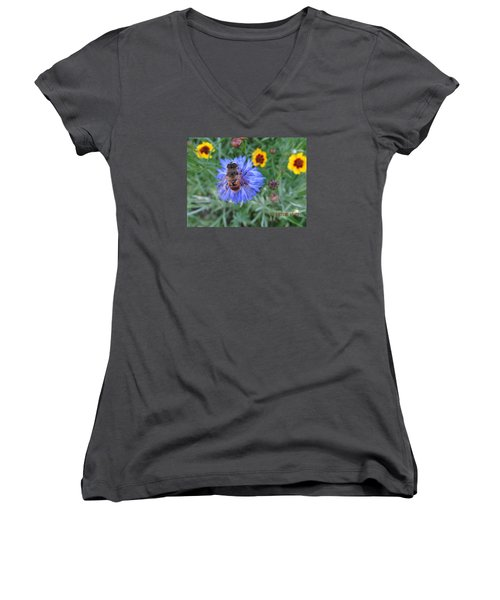 Women's V-Neck T-Shirt (Junior Cut) featuring the photograph Afternoon Feeding by Tina M Wenger