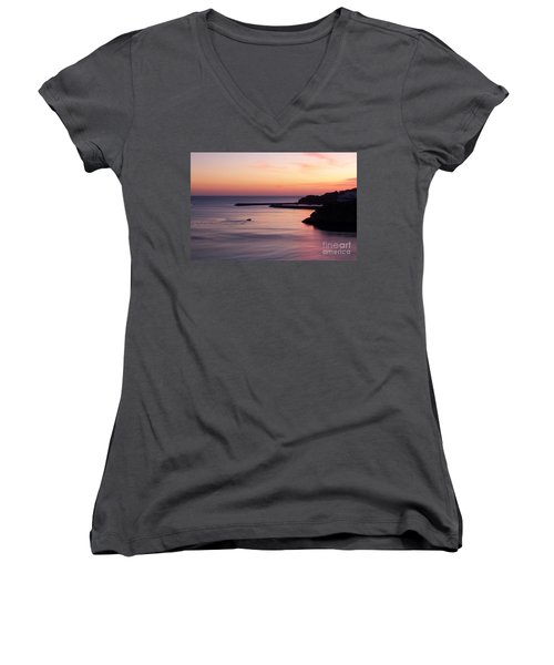 Women's V-Neck T-Shirt (Junior Cut) featuring the photograph Albuferian Sunset by Lynn Bolt