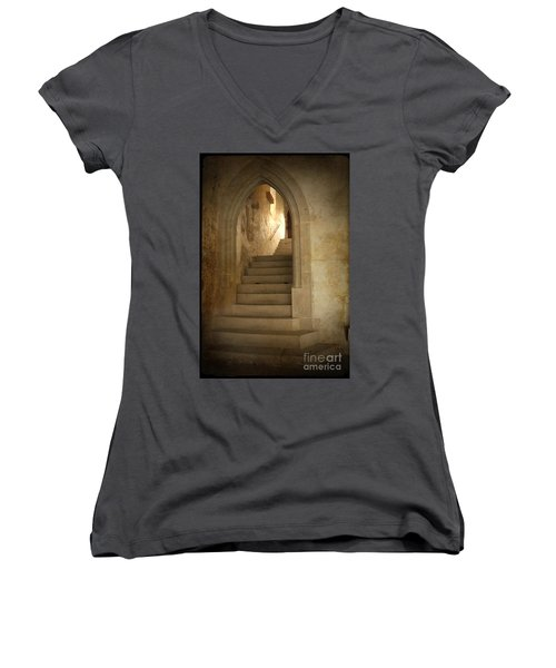 Women's V-Neck featuring the photograph All Experience Is An Arch by Heiko Koehrer-Wagner