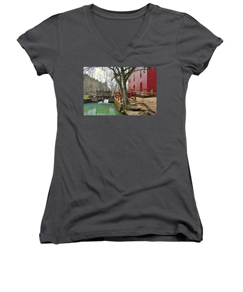 Women's V-Neck T-Shirt (Junior Cut) featuring the photograph Alley Spring Mill 34 by Marty Koch