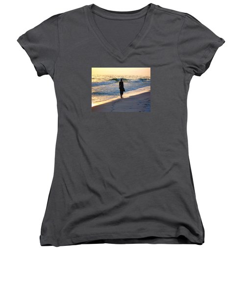 Alone At The Edge Women's V-Neck (Athletic Fit)