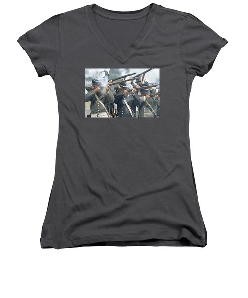 American Infantry Firing Women's V-Neck T-Shirt