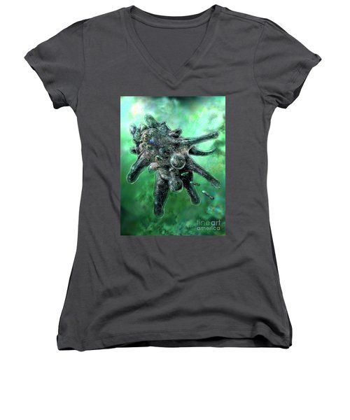 Amoeba Green Women's V-Neck