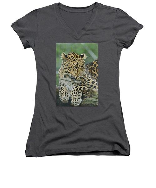 Amur Leopard Women's V-Neck (Athletic Fit)