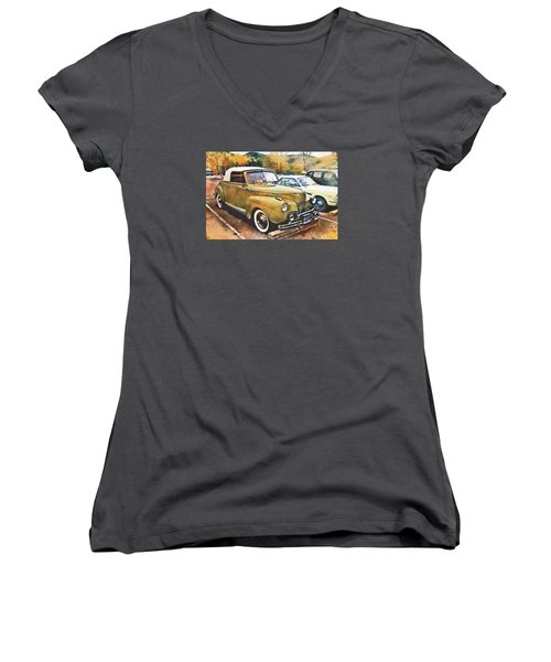 Women's V-Neck T-Shirt (Junior Cut) featuring the digital art Antique Car  by Mary Almond