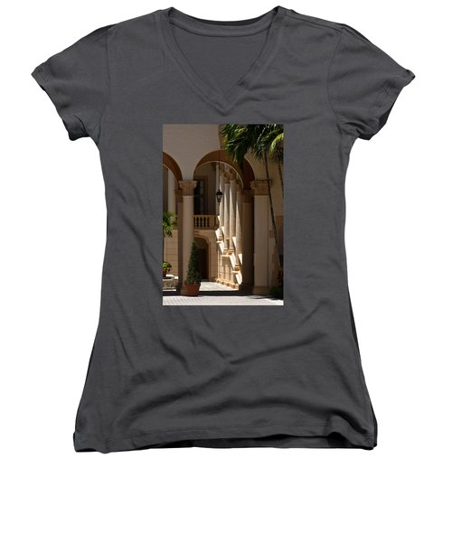 Women's V-Neck T-Shirt (Junior Cut) featuring the photograph Arches And Columns At The Biltmore Hotel by Ed Gleichman