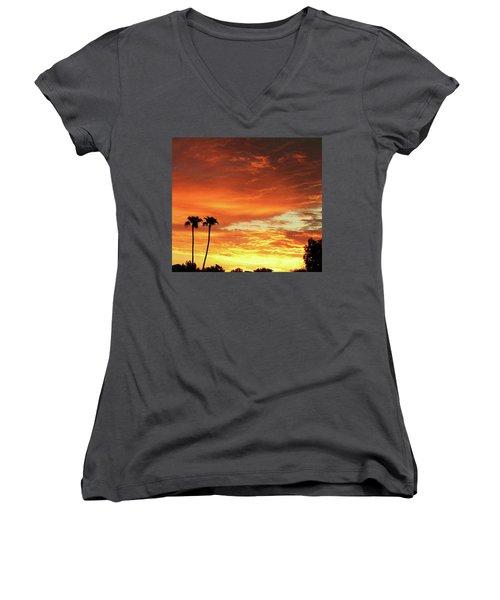 Arizona Sunrise 02 Women's V-Neck (Athletic Fit)