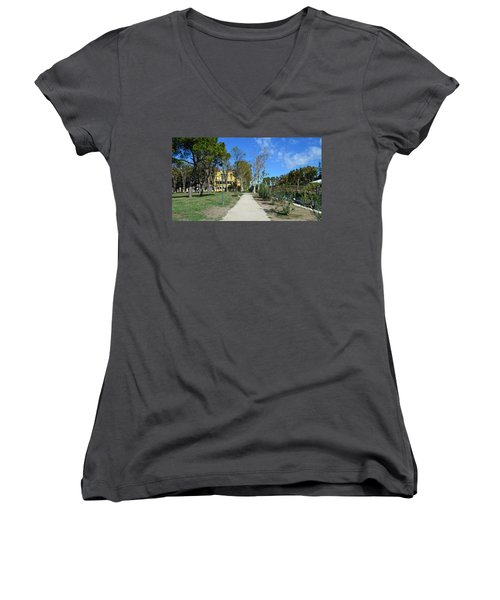 Women's V-Neck T-Shirt (Junior Cut) featuring the photograph Arsenale by Barbara Walsh