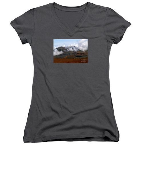 At The Rim Of The Crater Women's V-Neck T-Shirt (Junior Cut) by Patricia Griffin Brett