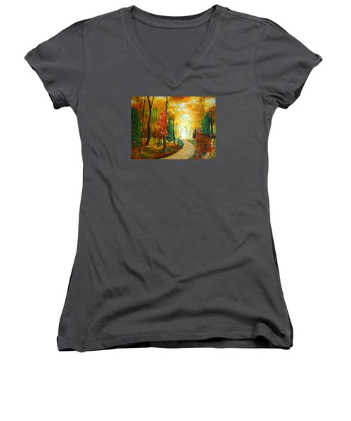 Autumn Afternoon Women's V-Neck (Athletic Fit)
